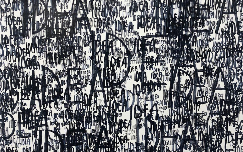 Andrea Bianconi, IDEA, 2020, inchiostro su tela, 40x40 cm