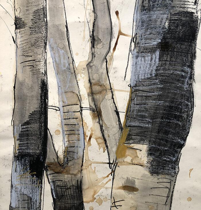 Giovanni Frangi, Porto Ercole II, 2020, pastelli grassi su carte, 89x70 cm