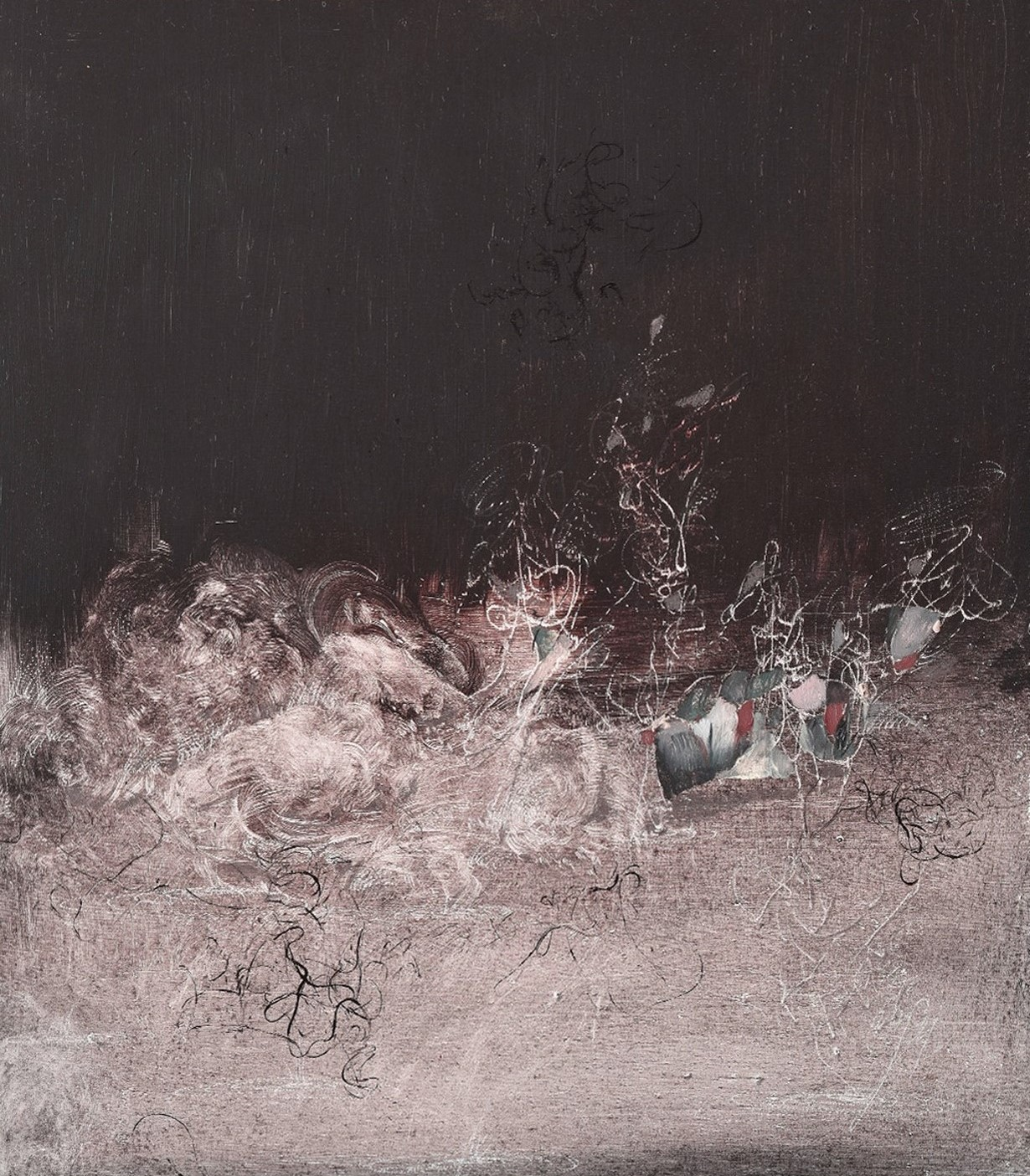 Massimo Angei, Il mese nero, 2020, olio su MDF, 30x26 cm