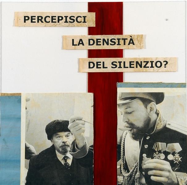Lolita Timofeeva, Percepisci la densità del silenzio?, 2020, tecnica mista e collage su plexiglas, 50x50 cm